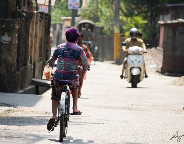 Cycle, Rickshaw and a Scooty, Holi