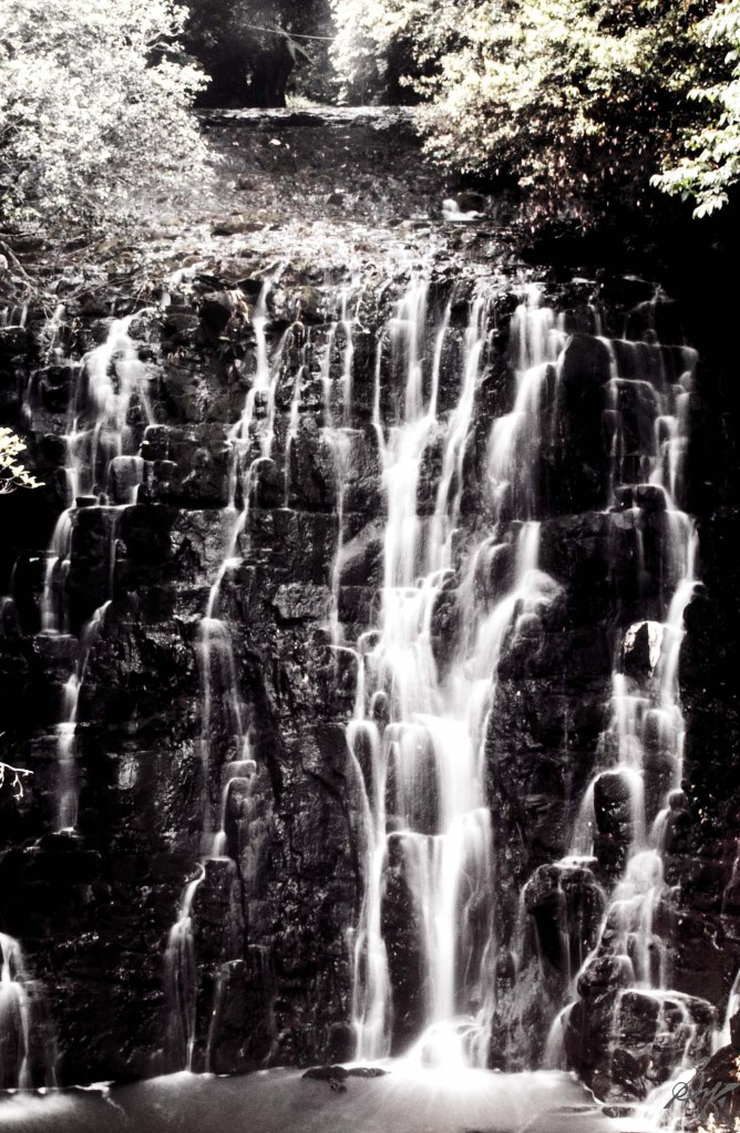 Slowing down water flow, Elephant Falls, Meghalaya