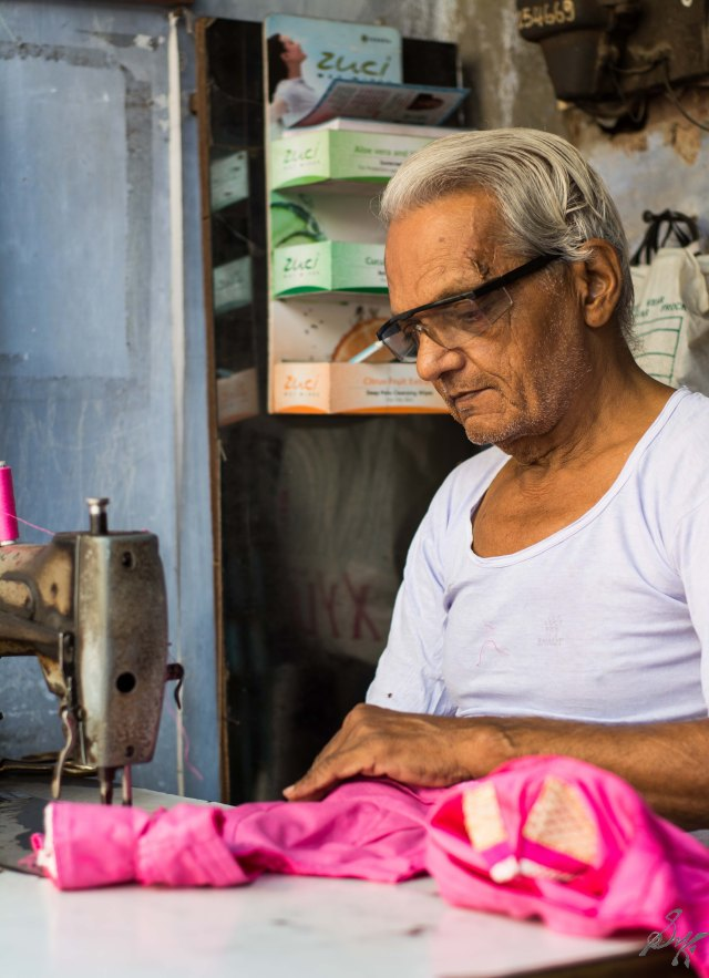 Tailor on his daily duties in Ahmedabad, Gujarat