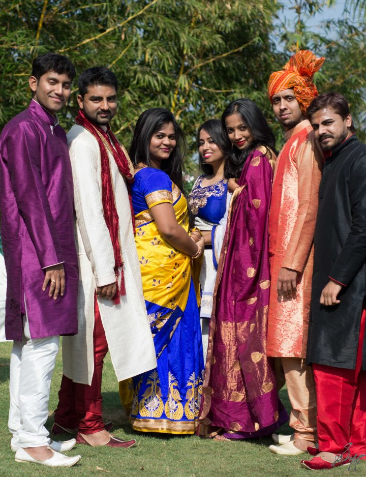 Friends decked up at the wedding