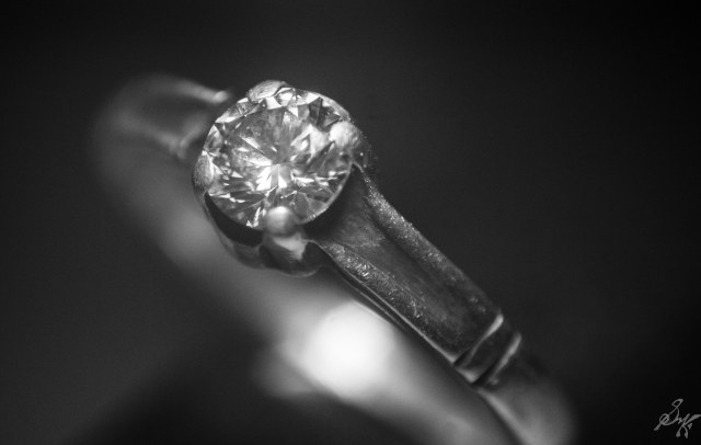 macro close up of a diamond ring