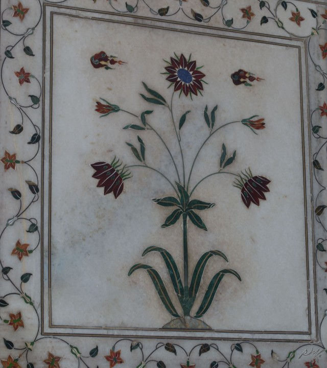 Painting on the wall of Diwan e Khaas, Red Fort, India