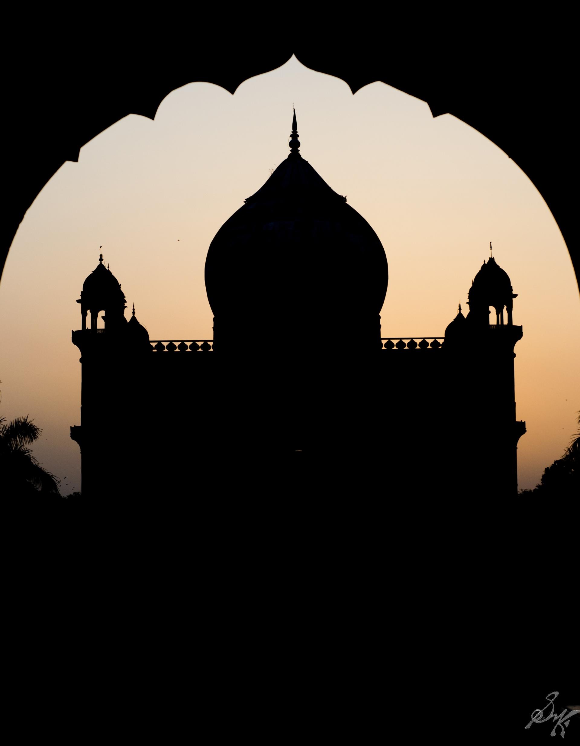 Safdarjung's Tomb in silhouette, Delhi, India