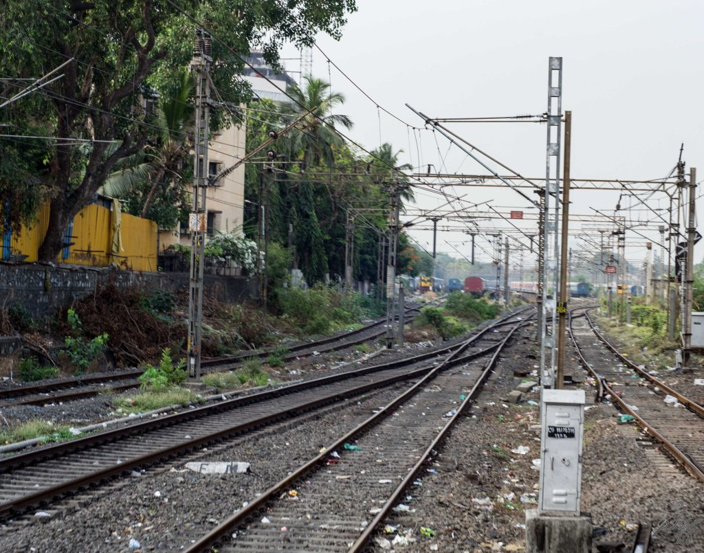 Railway tracks littered with human waste