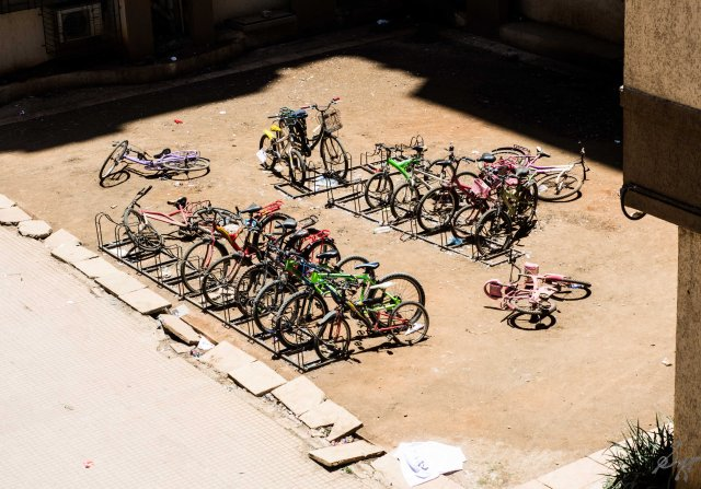 Yard with bicycles