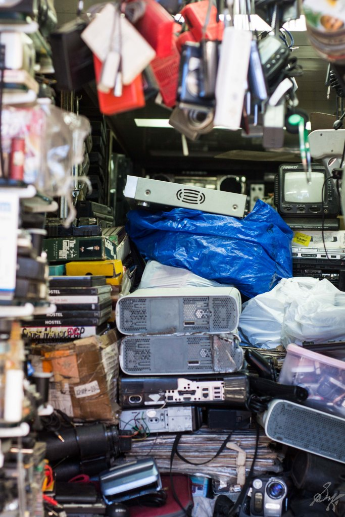 A shop with various merchandise from Walkman to Playstation