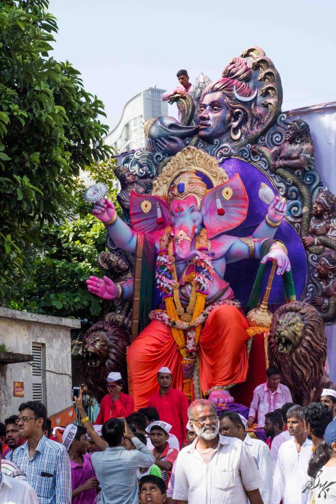 Ganesh Idol parades through the crowd