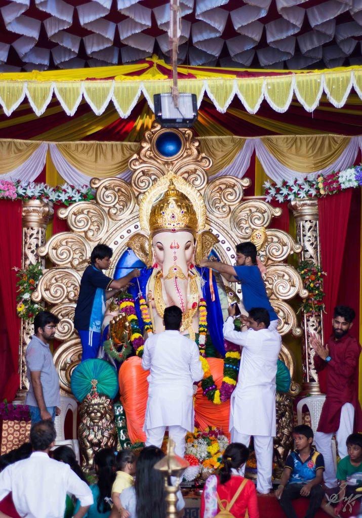 Ganesh Idol being readied for Visarjan