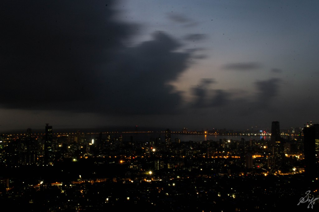 Bandra-Worli Sealink and nearby areas at night