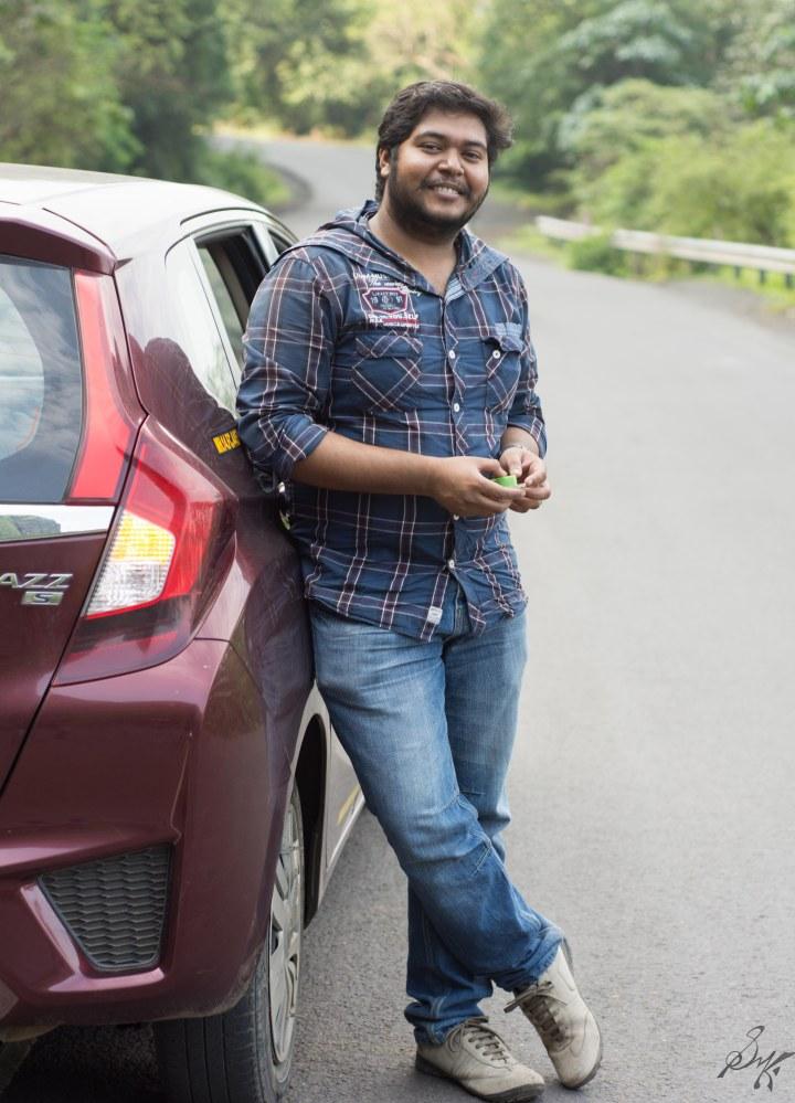 Me posing with the Honda Jazz