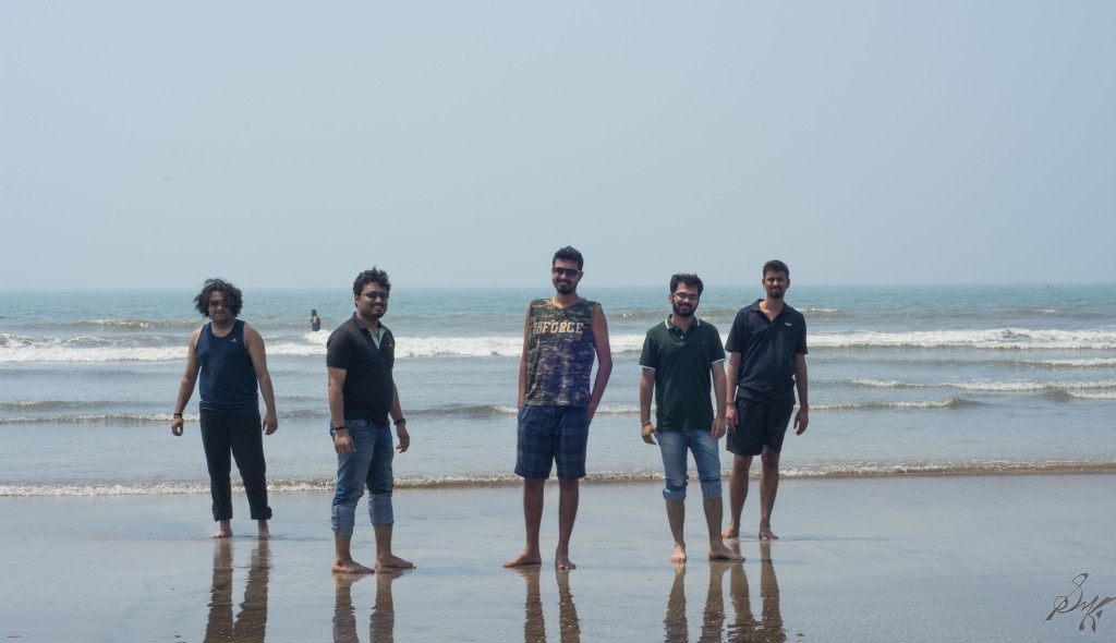 The friends gang posing at the Diveagar Beach