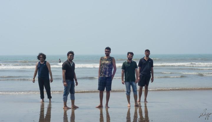 The friends gang posing at the Diveagar Beach