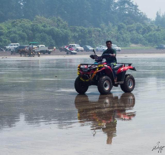 Quad bikes on the Diveagar Beach