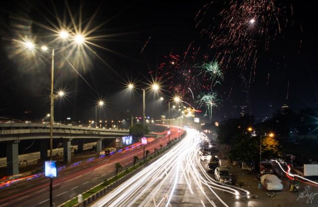 Fire works on Diwali Night at Marine Drive Mumbai