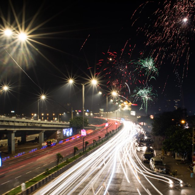 Fire works on Diwali Night at Marine Drive Mumbai