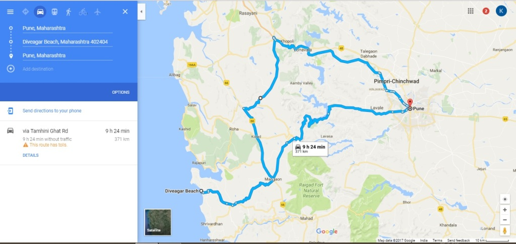 Route from Pune to Diveagar