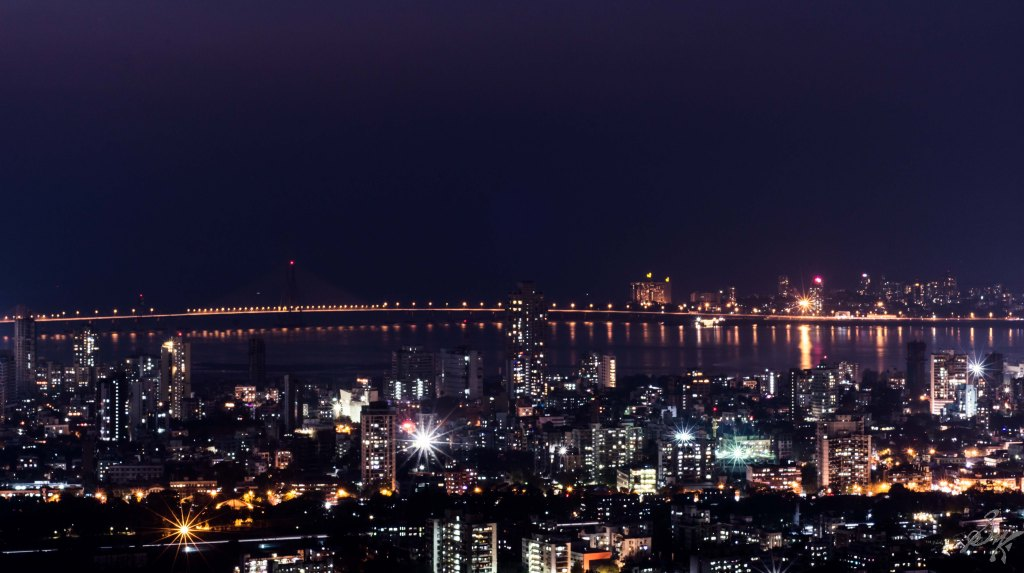 Long Exposure shot of the Mahim Bay, Bandra Worli Sea Link in background