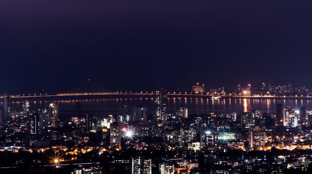 Mumbai Cityscape at night, Sea Link
