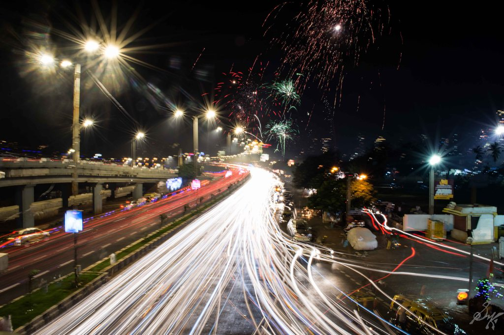 Long Exposure photo, Fire works, Cars, Lighttrails, Mumbai