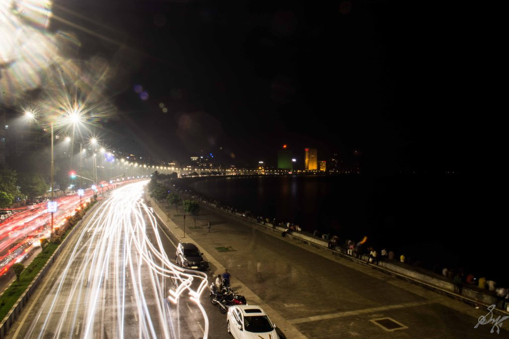 Long Exposure, Queens Necklace, Marine Drive, Mumbai