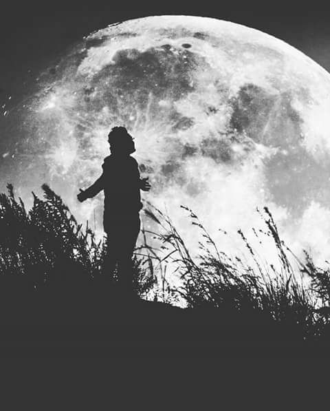 Man, Moon, Double Exposure