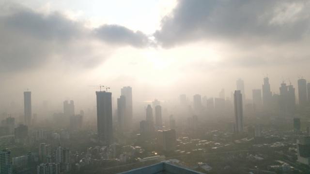Mumbai Skyline, Clouds, Sun