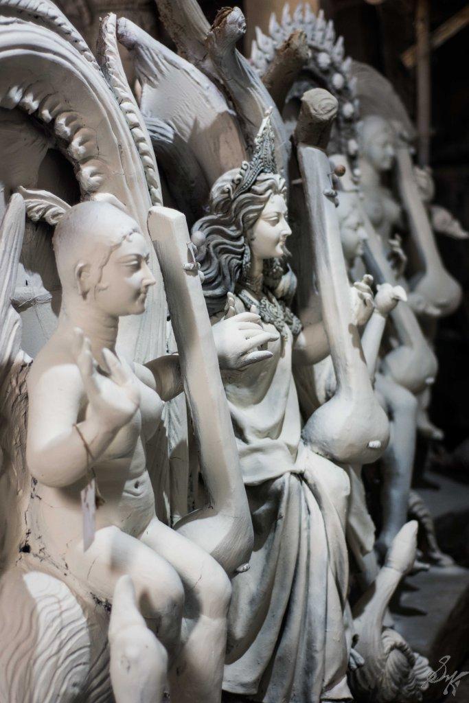 Saraswati Idols waiting to be painted