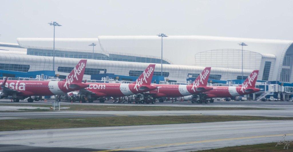 Air Asia Flights parked at KLIA 2