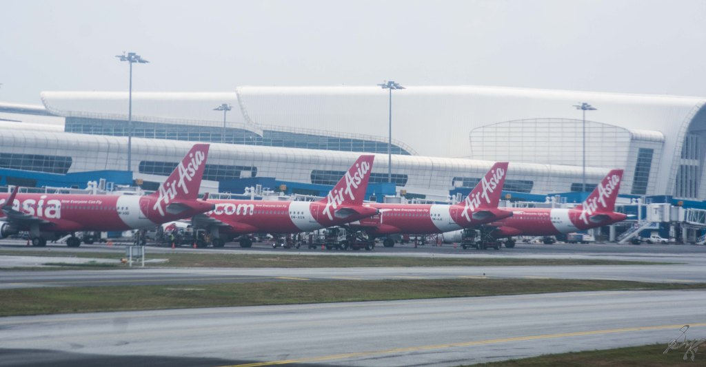 Air Asia Flights parked at KLIA 2