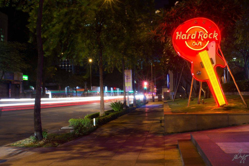 Long exposure outside the Hard Rock Cafe, Saigon