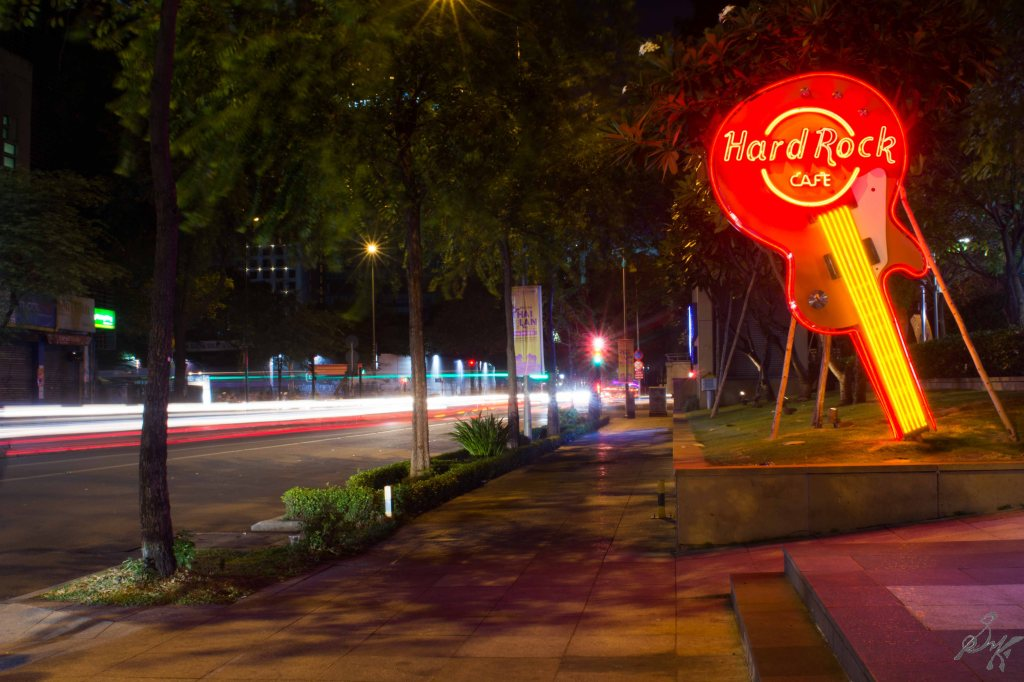 Long exposure outside the Hard Rock Cafe, Saigon