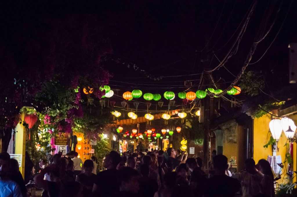 Street with colourful lights and people, Hoi An, Vietnam