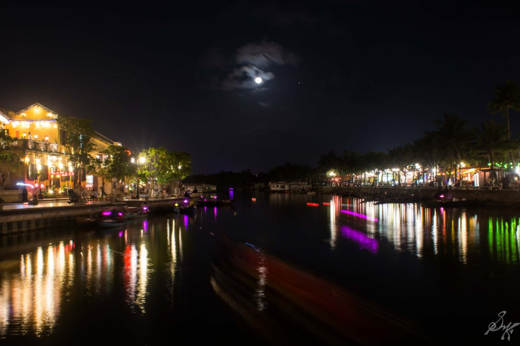 The Thu Bon river at night, Hoi An, Vietnam