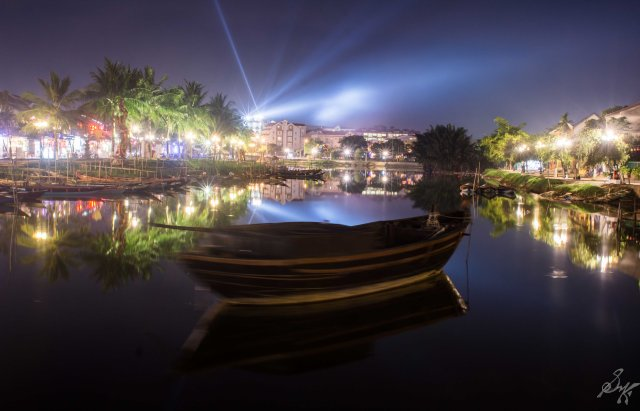 The calm Thu Bon river at night, Hoi An, Vietnam