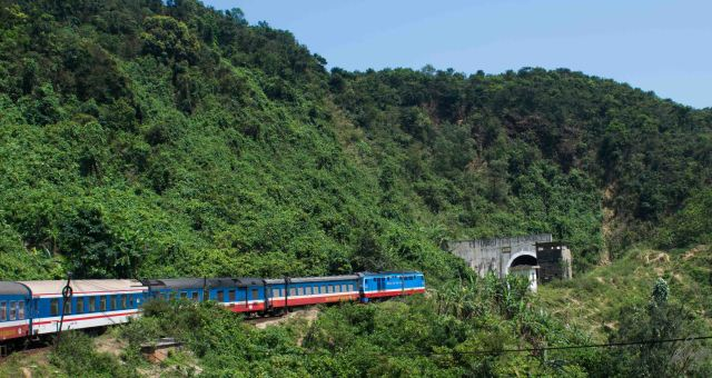 Our train entering one of the numerous tunnels, en route Hue, Vietnam