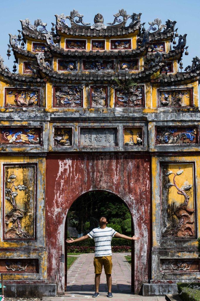 Manas under a gate, Imperial Citadel, Hue, Vietnam