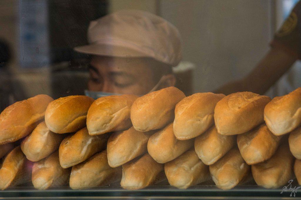 Freshly baked banh mi buns, Hanoi, Vietnam