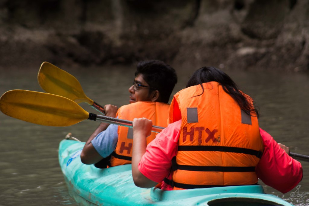 Ankita and Manas Kayaking, Ha Long Bay, Vietnam