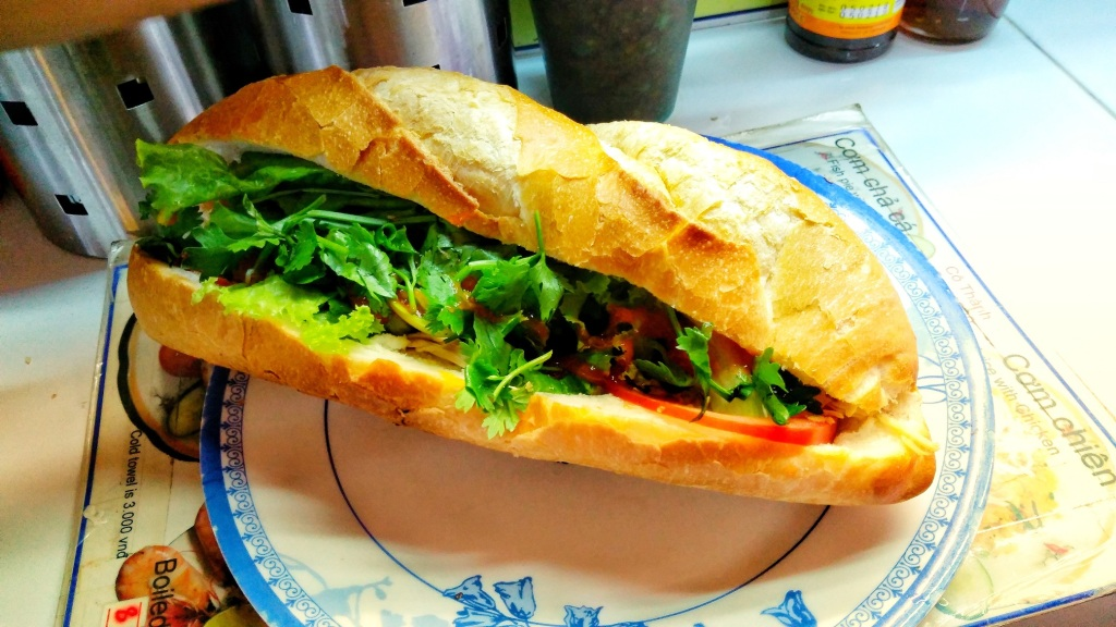 Banh Mi, Chicken, Baguette, Meat, Mint leaves