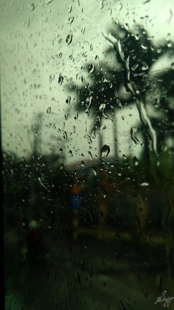 Rain on window, Hanoi, Vietnam
