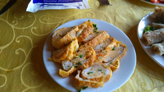 Rolled fried eggs, Ha Long Bay, Vietnam