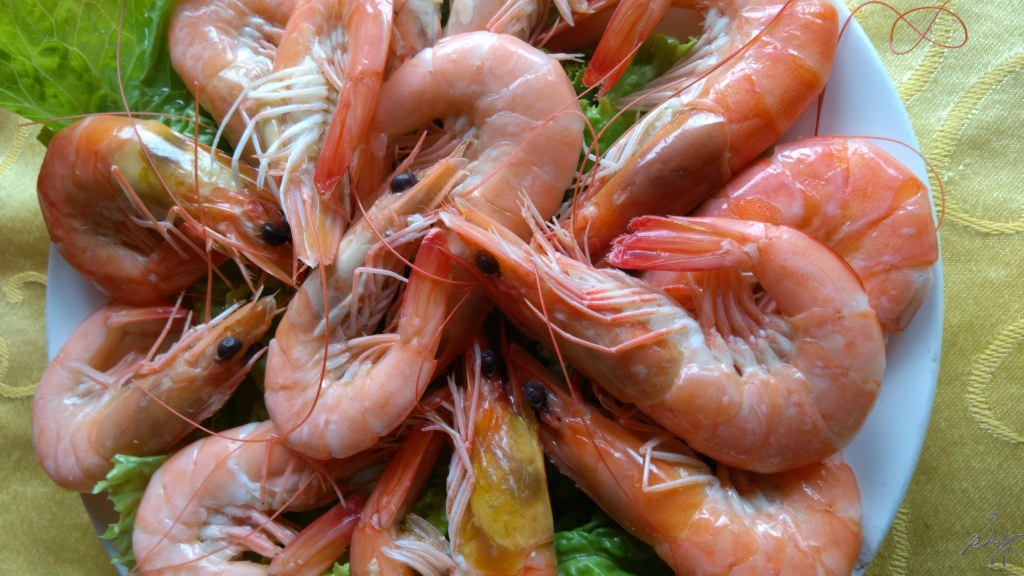 Boiled prawns, Ha Long Bay, Vietnam