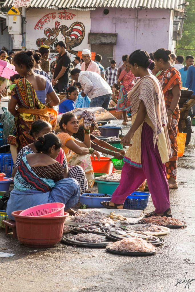 Fishes for sale in the market, Sassoon Docks, Mumbai, India