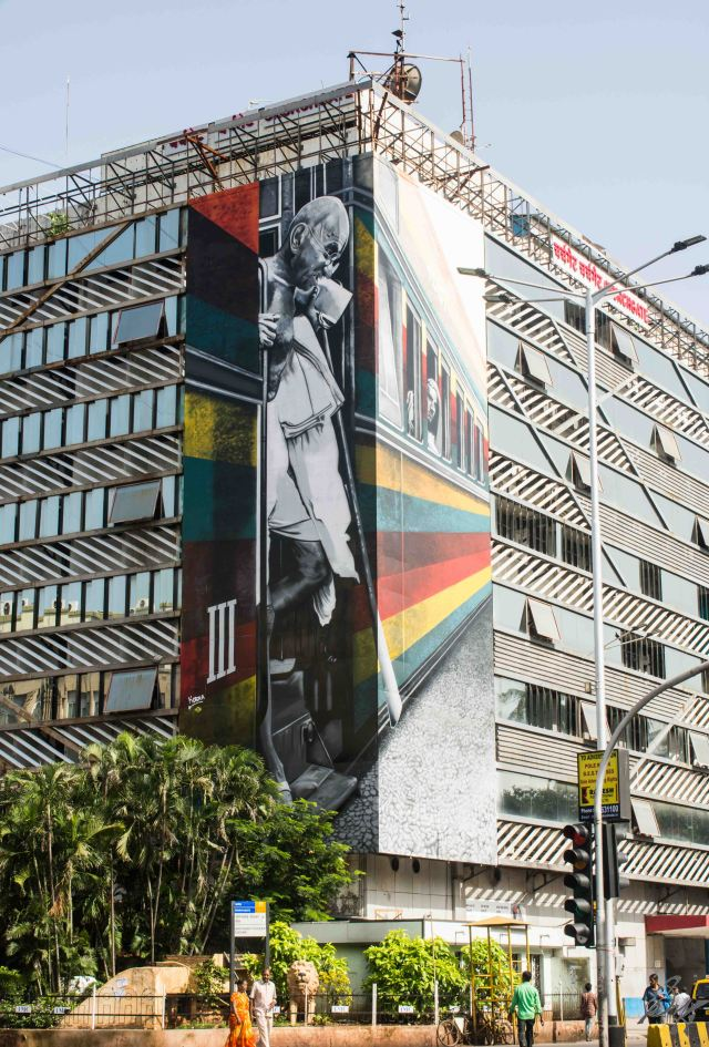 Mural at Churchgate Station, Mumbai, India